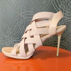 Pale blush pink elastic/leather heels. 8M
